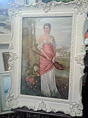 Antique Oil Painting-Gypsy Woman Playing Guitar-LARGE