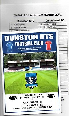 18/19 Dunston Uts V Gateshead (0-4) (Fa.cup 4Th Qualifying Round)(With T.s)