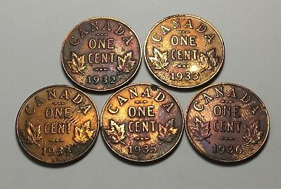 1932 1933 1934 1935 1936 Canada One Cent Coin * George V * Free Ship