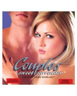 Couples Sweet Surrender His & Hers Edible Undies - Strawberry W-chocolate Pack O