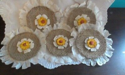 Primitive  Bowl Fillers Handmade Ornies//Yellow Sunflowers//Grunged