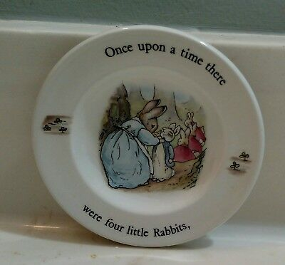 """Wedgwood Peter Rabbit Beatrix Potter Child's 4"""" Tea Set Plate """"Once Upon a Time"""""""