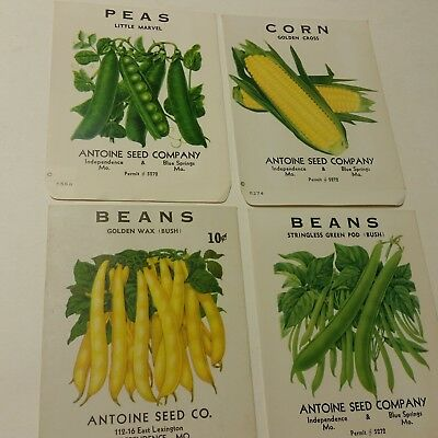 4 VIntage ca. 1950 unused vegetable seed packets from Blue Springs/Indep. MO