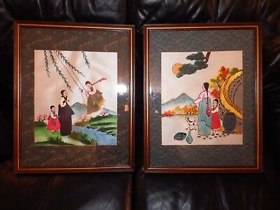 Rare pair of Korean Traditional Dress Hanbok Silk embroidered needle painting