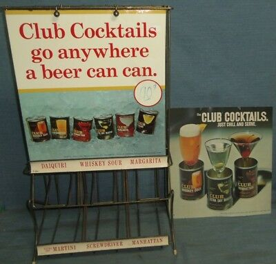 Vintage CLUB COCKTAILS Liquor Beer Store Metal Sign Can Display Rack Hartford CT