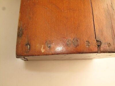 """Antique Aafa Primitive Wooden Small Trunk Blanket Box 19Th C Possibly 18Th 24""""l"""