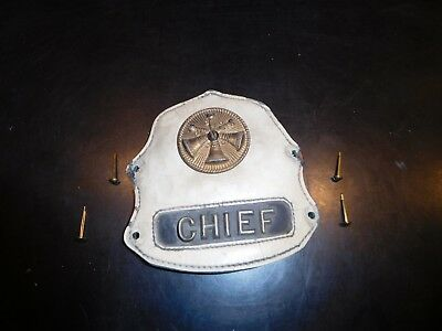 Vintage Fire Chief Front Shield-Leather