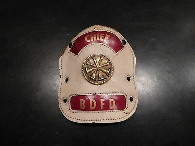 Vintage Fire Chief Front Shield-Leather-Bdfd