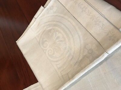 "Pair Vintage Early 1900's IRISH LINEN Bath Towels  Damask  18"" x 34"" Orig Labels"