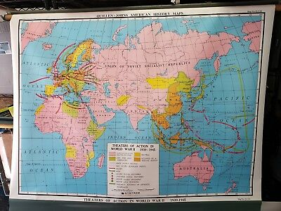 Vintage Pull Down World Map Theaters of Action WWII 1939-1945