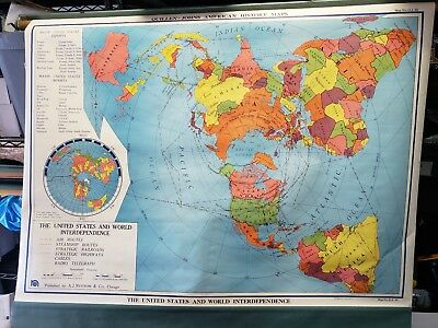 Vintage Pull Down World Map United States And World Interdependance