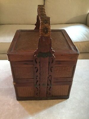 WOW Antique Chinese 2 Tier Wedding Basket Bamboo Weave Hand Carved Design