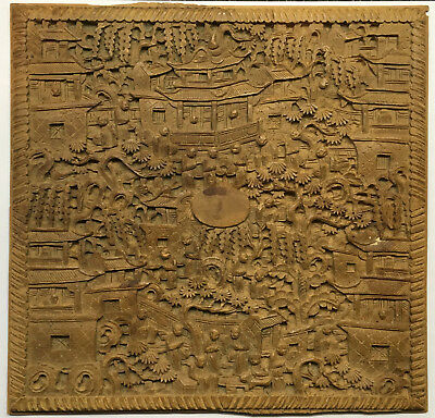 Antique Chinese / Cantonese, 19th Century,  Hand Carved Wood Plaque