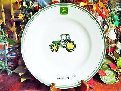 "1 USED JOHN DEERE GIBSON 11 1/4""R NOTHING RUNS LIKE A DEERE DINNER PLATE utensil"