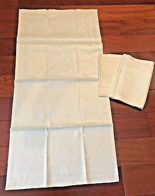 "Pair Vintage Early 1900's Linen Bath Towel LEAVES Damask 46""x23"" Label NOS"