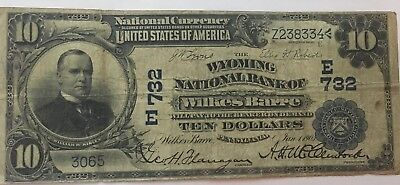 $10 1902 Wyoming NATIONAL BANK NOTE Wilkes-Barre, PA. Charter# 732 Date Back