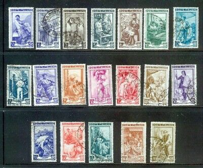 1950 Italy at Work- Italia al Lavoro set of 19 used stamps Lira Winged wheel wmk