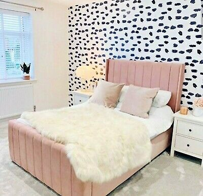 Swan White Leather Pu Buttoned Bed Frame Diamante King Size Super King Double