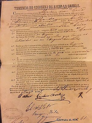 Rare1868 Peru Indentured Labor Contract for Chinese Coolie