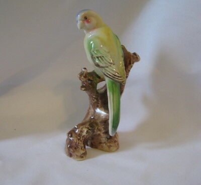 "Vintage Yellow & Green & Blue Long Tail Parakeet On A Stump Ceramic 6"" Figurine"
