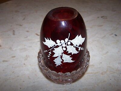 Lovely Vintage Fenton Red Hand Painted Fairy Lamp w/Clear Labeled Bottom VGC
