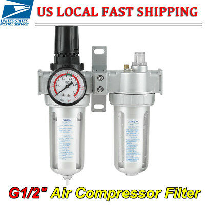 "G1/2"" Air Compressor Filter Oil Water Separator Trap Tools + Regulator Gauge"