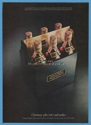 1971 Johnnie Walker Black Label Scotch Six Pack Christmas magazine photo Ad