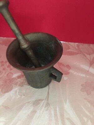 Solid Brass Vintage Mortar and Pestle Heirloom used condition