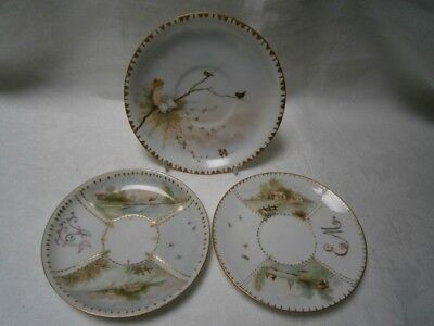 3 Antique Signed A.j.1906 Handpainted Plate & 2 Saucers - Country Scenes - Fairy