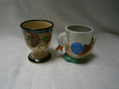 2 Antique Vintage Egg Cups - Hand Painted Duck - Handpainted Floral Pansy Design
