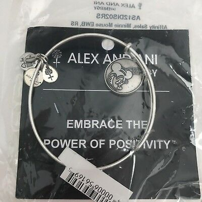 Alex & Ani Minnie Mouse Bracelet Bangle Silver Disney Parks Flower RETIRED NEW