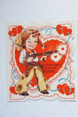 """VINTAGE """"I'm Shooting Straight For Your Heart"""" Valentines Day Card"""