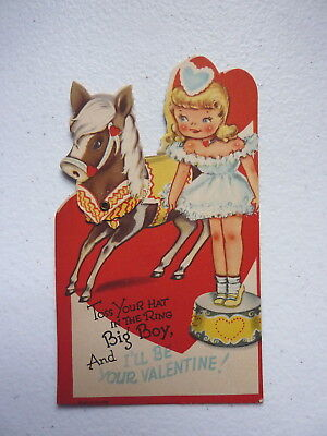 """Vintage """"Toss Your Hat In The Ring Big Boy"""" Mechanical Valentines Day Card"""