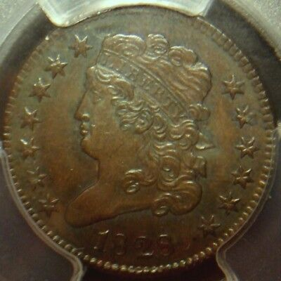 1828 Classic Head Half Cent, 13 Star Variety, Awesome Detail, Pcgs Graded Au55