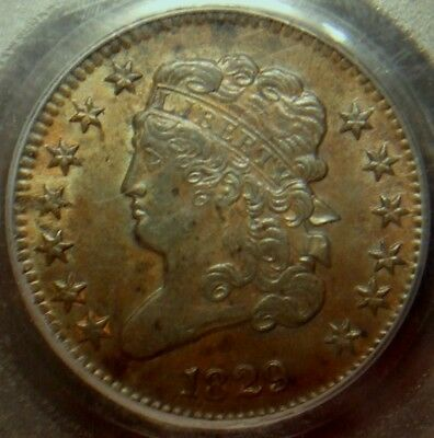 1829 Classic Head Half Cent, Awesome Detail, Pcgs Graded Au53