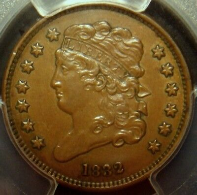 1832 Classic Head Half Cent, Awesome Detail, Pcgs Graded Au53