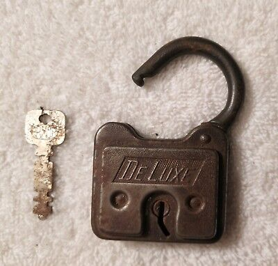 "Rare Vintage Antique Brass ""deluxe"" Padlock Lock With Key"