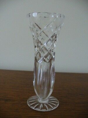 Vintage Hand Cut Crystal Bud Vase Excellent Condition