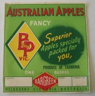Vintage Box Crate Apple Label B&P Victoria BarGreen