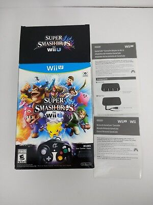 Fast Super Smash Bros. for Wii U Controller Bundle Box and Manuals ONLY