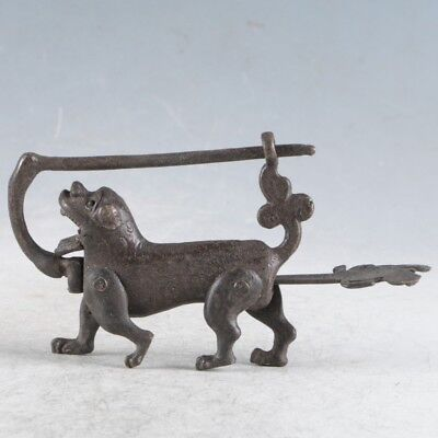 Rare Collectibles Chinese Old Style Brass Handmade Dog Lock With Key @LLS11`a