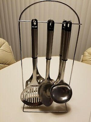 Kitchen Utensil 6 Piece Stainless Steel Set With Rack!  New!!!