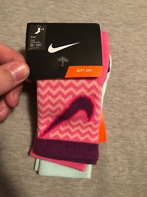 Nike Kids 3 Pack Socks Crew Purple Pink Blue