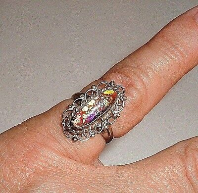 Vintage Ring Sz 5 Sterling Silver Filigree Oval Dragons Breath Stone Signed Pl