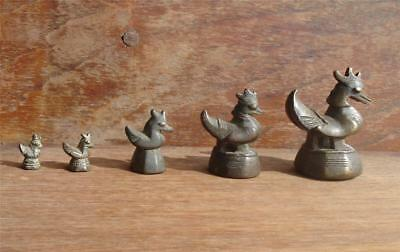 A Set Of 5 Antique Bronze Opium Weight, Bird