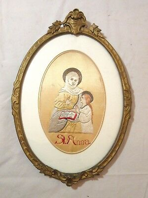 antique 19th century religious silk Saint Anna needlepoint hand embroidery art