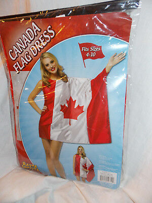cb64a830311 Rasta Imposta Adult Womens Canada Flag Dress Costume Fits Size 4-10 New in  Bag