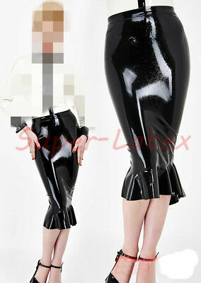 100% Latex Rubber Gummi Skirt 0.45mm Dress Office Uniform Mini Catsuit Ganzanzug