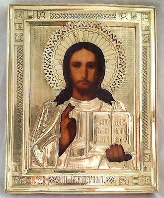 Antique Russian Orthodox hand painted icon 19th century of Jesus Christ .