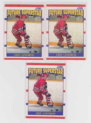 1990-91 SCORE AMERICAN #440 ERIC LINDROS ROOKIE CARD RC LOT OF three (3) Flyers